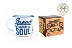 Cafe Racer Workshop Mug (Blue & White)