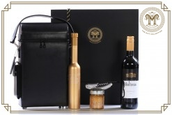 Genuine Leather Executive Wine Case & Deluxe Gold Gourmet Gift Hamper