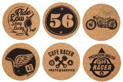 Cafe Racer Cork Coasters Set 6
