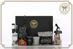 Black & Silver Mini Christmas Candle Set Gift Hamper