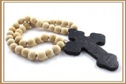 OVERSIZED BEADED BLACK CROSS