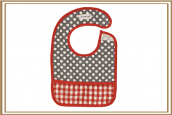 Alimrose Polka Dot Grey & Red Check Bib